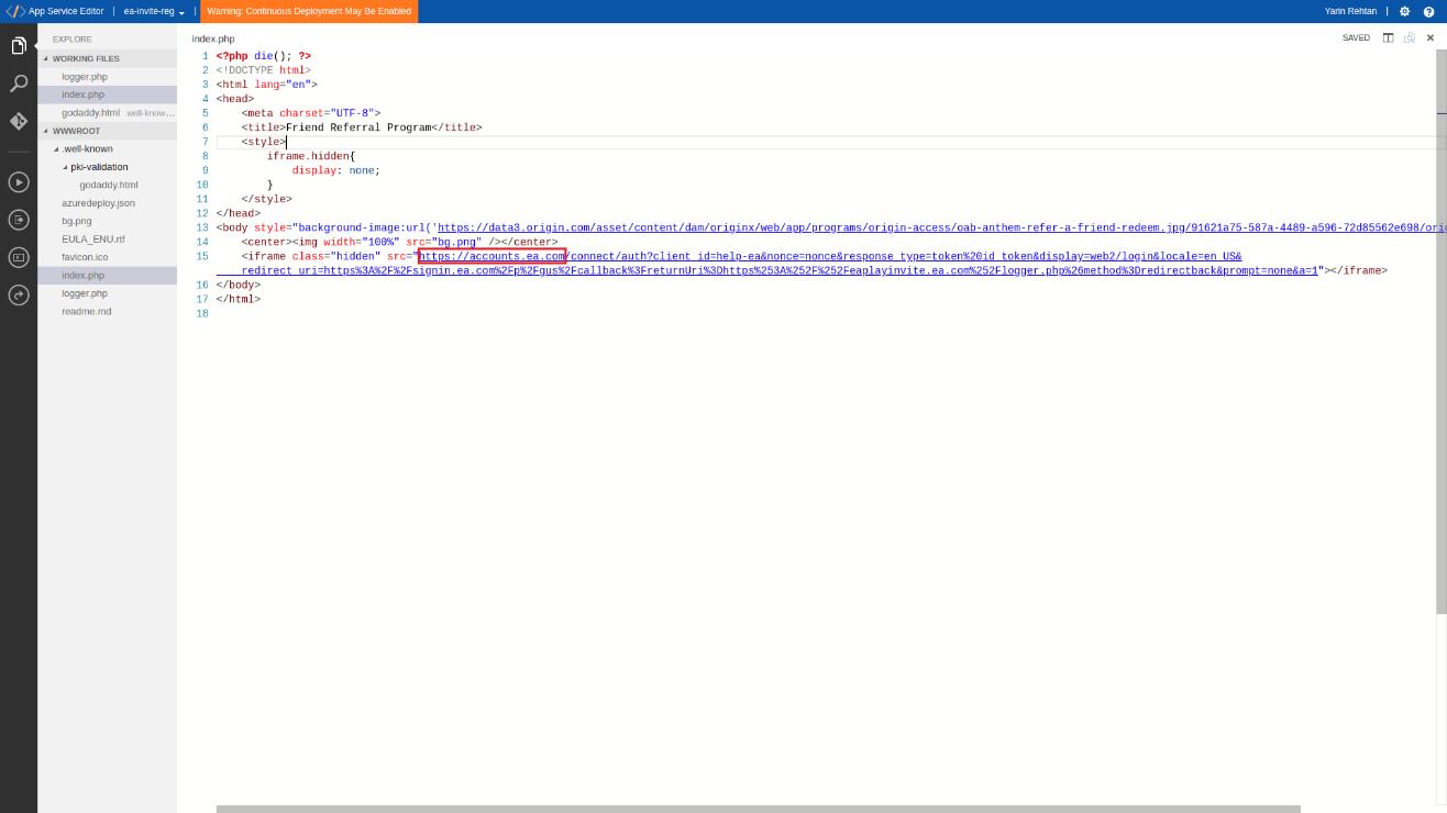图9:攻击者在eaplayinvite.ea.com上生成iframe以绕过http Referer验证