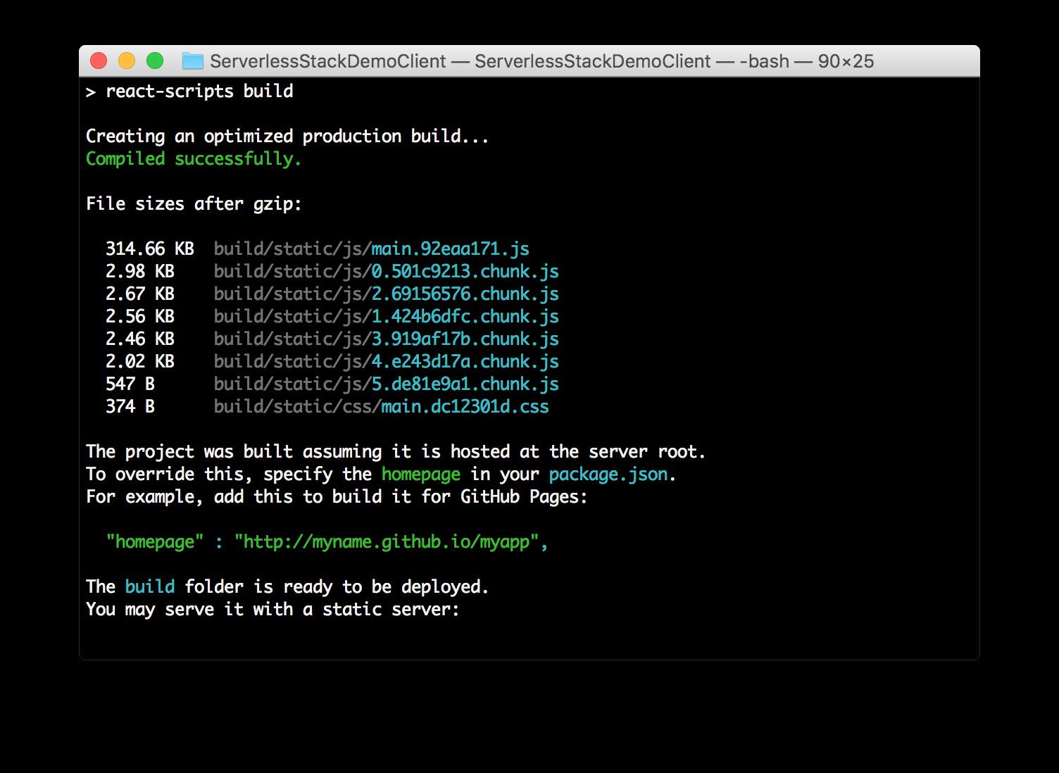 Create React App Code Splitting build screenshot