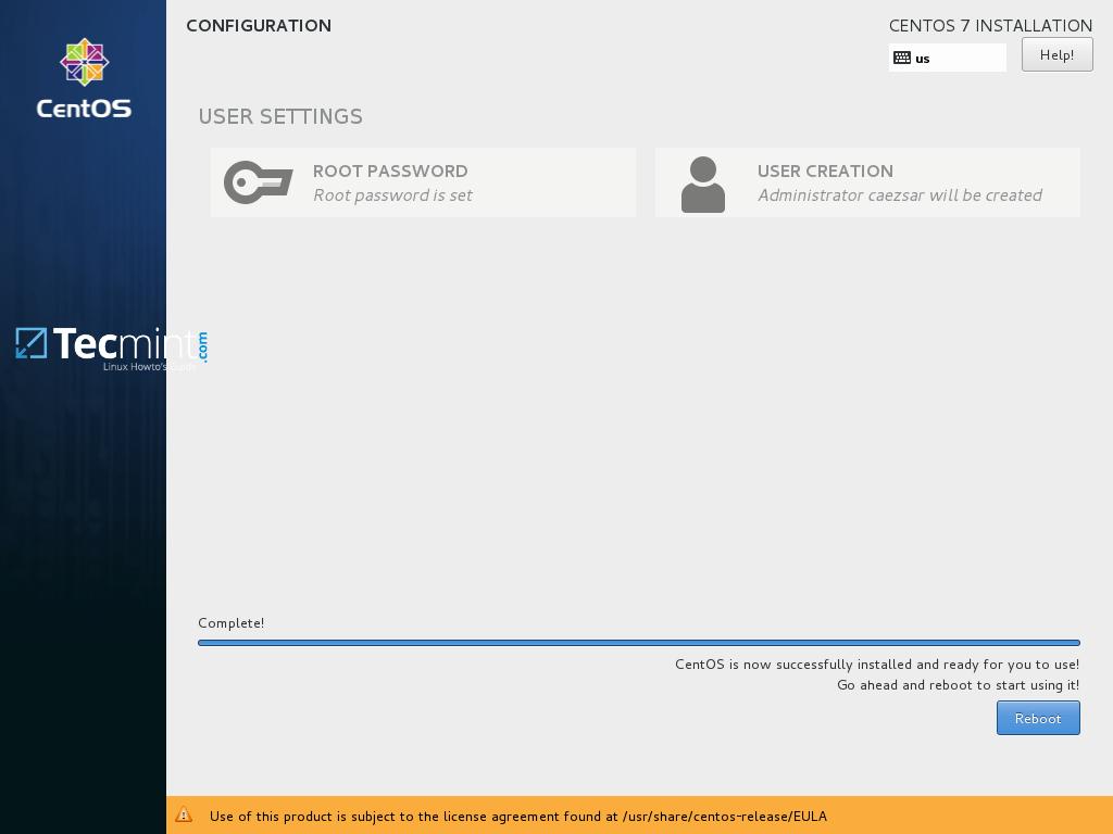 CentOS 7.3 Installation Complete